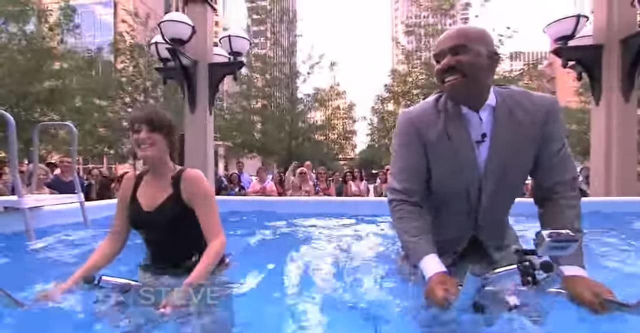 steve-harvey-water-biking-pool